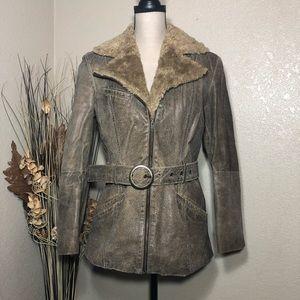 Distressed Leather Coat